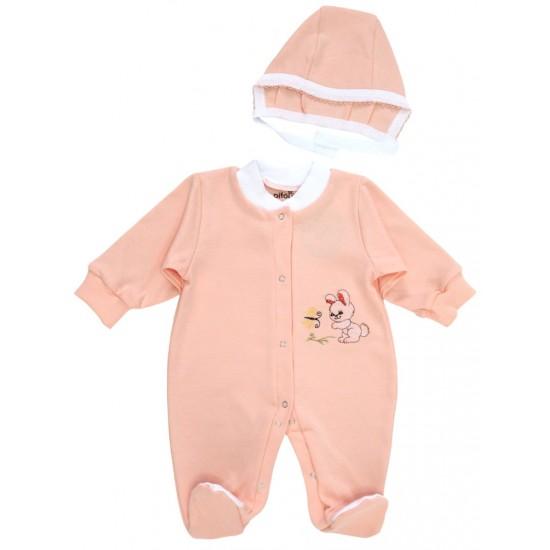 salopeta bebe bumbac + caciulita iepuras roz piersica