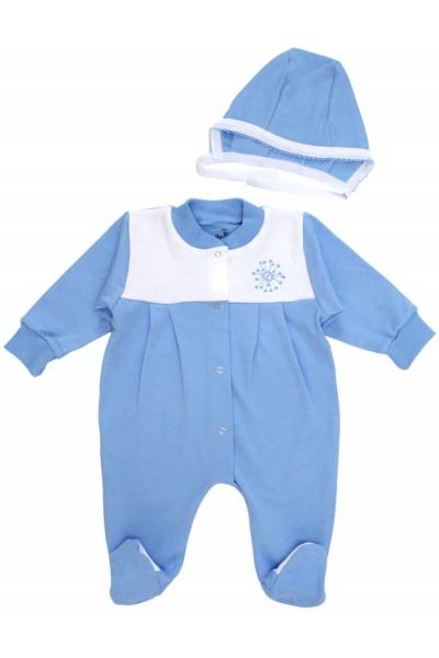 salopeta bebe bumbac pliuri + caciulita bleu