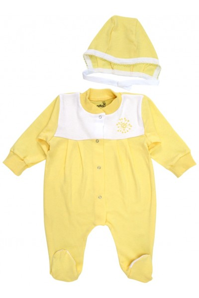 salopeta bebe bumbac pliuri + caciulita galben