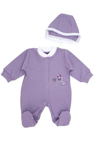 salopeta bebe bumbac + caciulita iepuras mov