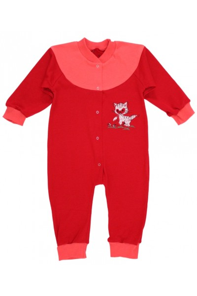 Salopeta bumbac bebe 9-12 luni rosu