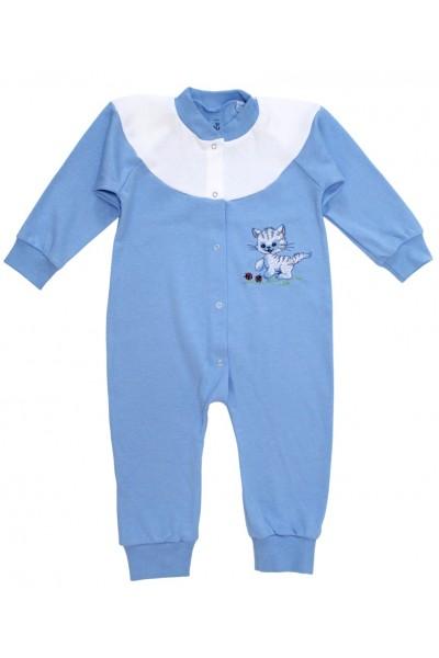 Salopeta bumbac bebe 9-12 luni bleu