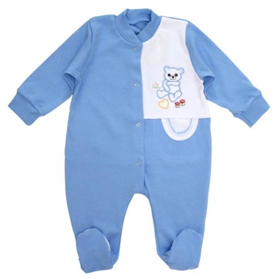 salopeta bumbac bebe bleu ursulet brodat