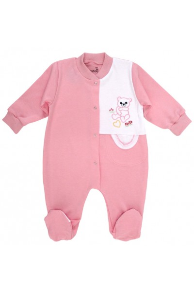 salopeta bumbac bebe roz ursulet brodat