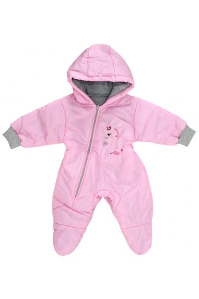 Salopeta bebe exterior model girafa roz