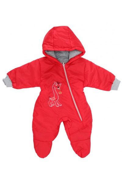 Salopeta bebe exterior model girafa rosu