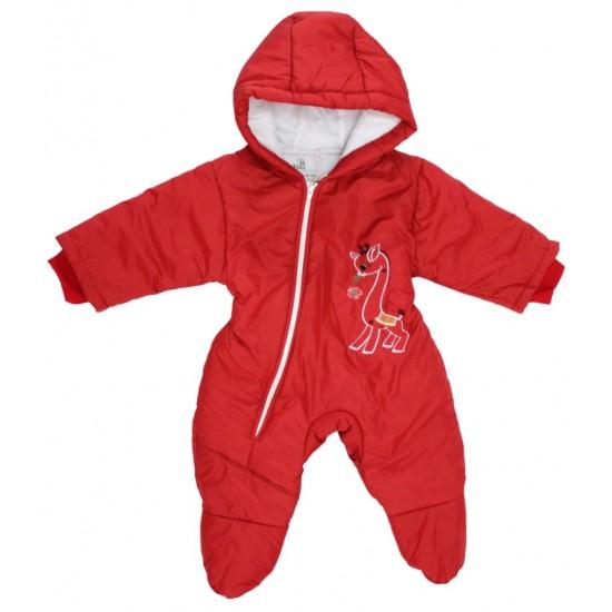 Salopeta bebe exterior model girafa rosu inchis