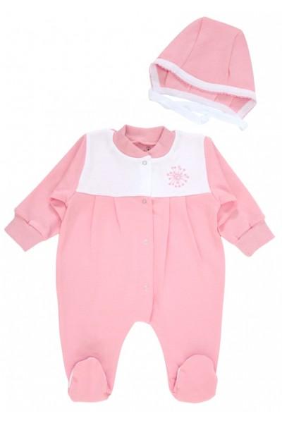 salopeta bebe bumbac pliuri + caciulita roz
