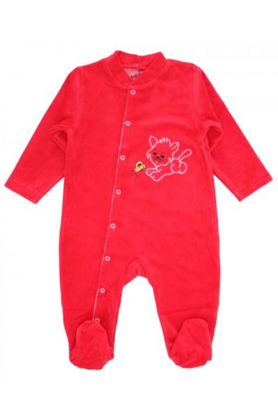 Salopeta bebelusi catifea pisicuta rosu