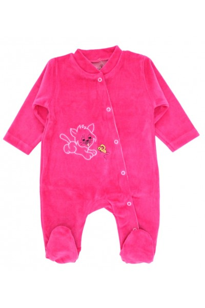 Salopeta bebelusi catifea pisicuta roz