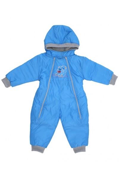 Salopeta bebe exterior model ursuleti albastru