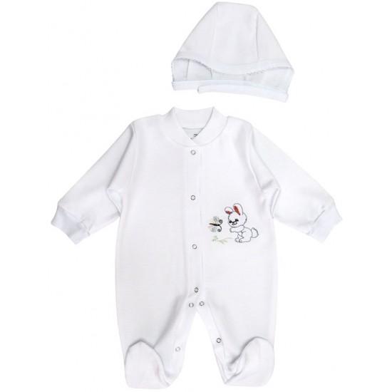 salopeta bebe bumbac + caciulita iepuras alba