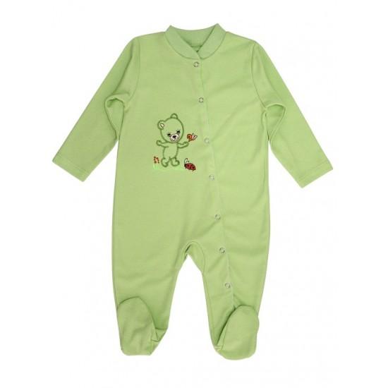salopeta bebe bumbac ursulet verde