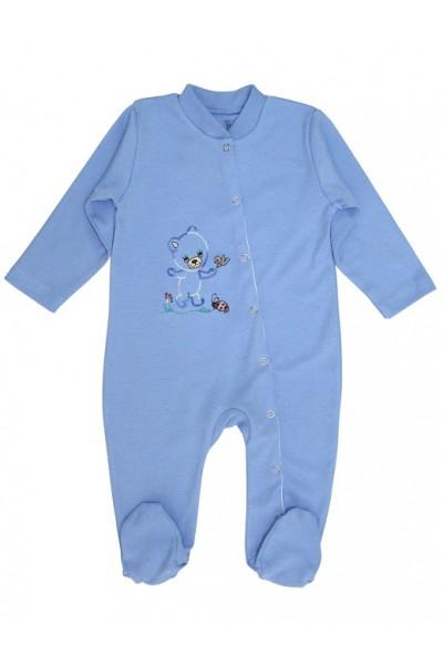 salopeta bebe bumbac ursulet bleu