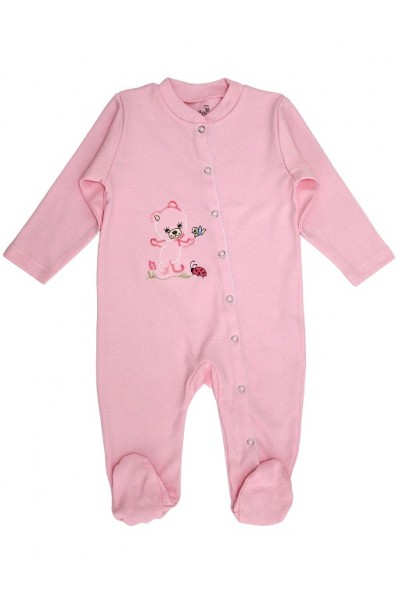 salopeta bebe bumbac ursulet roz