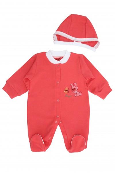 salopeta bebe bumbac + caciulita iepuras coray