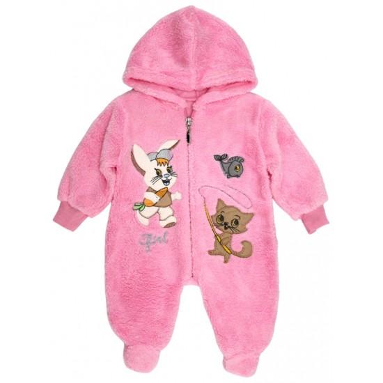 Salopeta bebe cocolino fermoar roz iepuras