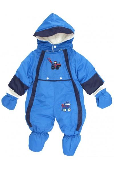 Salopeta bebe exterior albastru masinuta