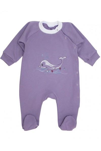 salopeta bebe bumbac delfin lila