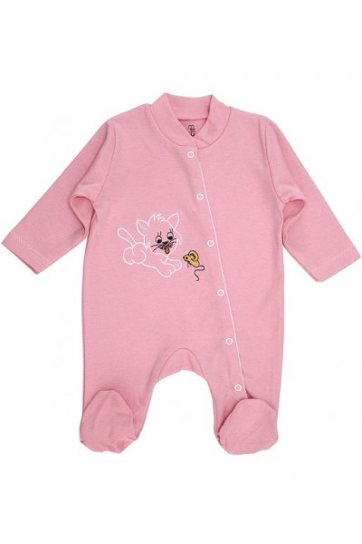 Salopeta bebe bumbac roz pisica