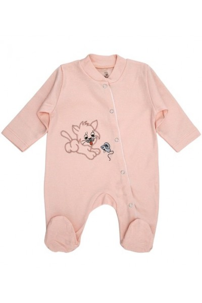Salopeta bebe bumbac roz-piersica pisica