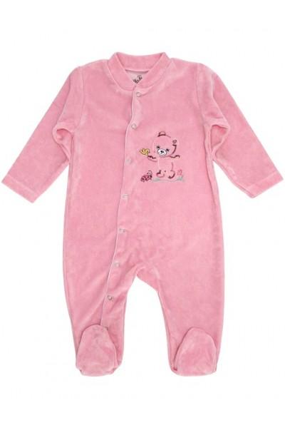 Salopeta bebe catifea roz ursulet