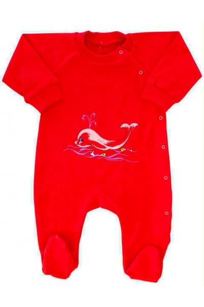 salopeta bumbac bebe rosu delfin