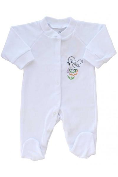 salopeta bumbac bebe alba