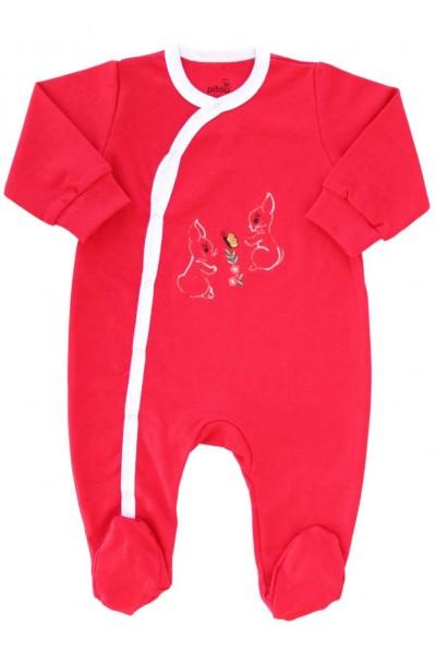 salopeta bumbac bebe rosie iepurasi