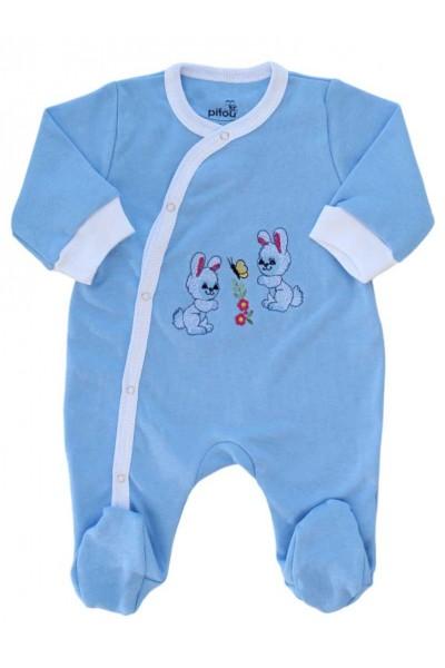 salopeta bumbac bebe bleu iepurasi