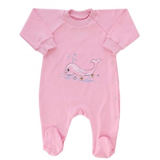salopeta bumbac bebe roz delfin