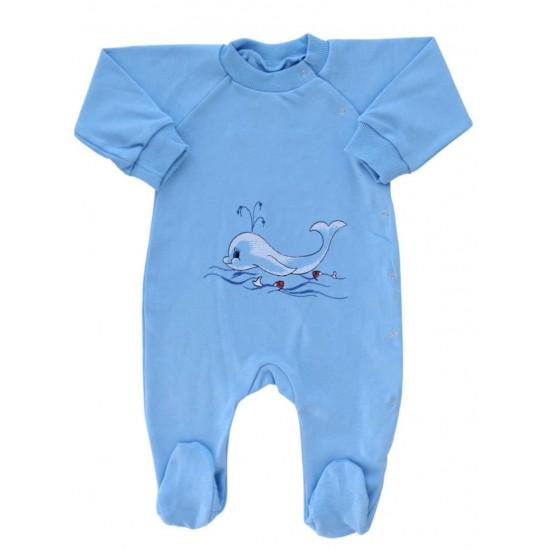 salopeta bumbac bebe bleu delfin