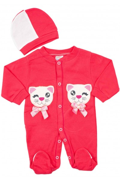 salopeta bebe bumbac pisicuta roz
