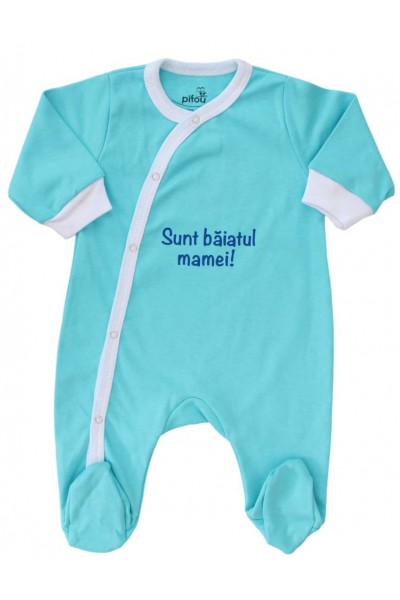 salopeta bumbac bebe azur sunt baiatul mamei