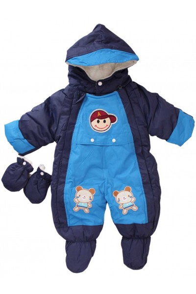 salopeta bebe exterior bleumarin-albastru ursuleti