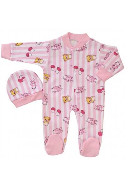 salopeta bebe bumbac roz iepurasi