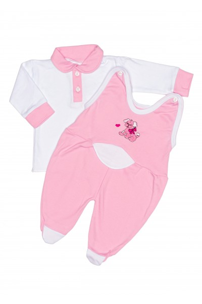 Compleu ewelin bluza si salopeta roz