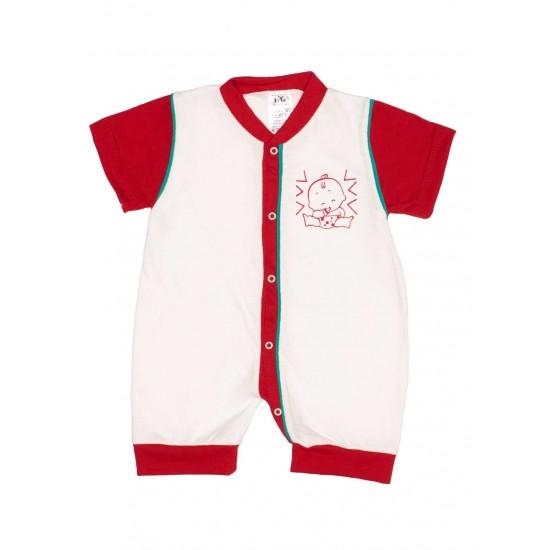Salopeta bebe bumbac bermuda alb-rosu