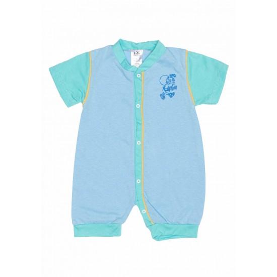 Salopeta bebe bumbac bermuda albastru