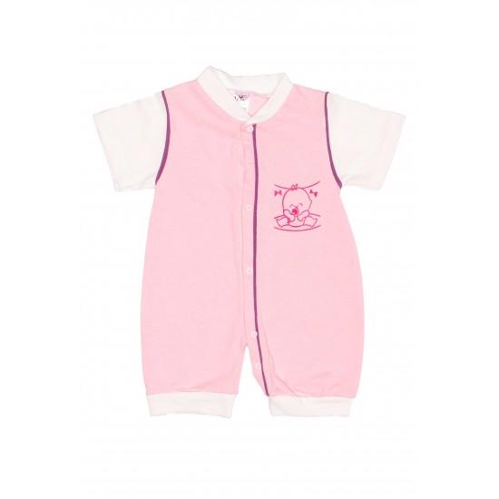 Salopeta bebe bumbac bermuda roz