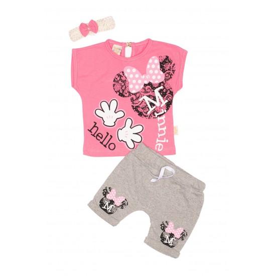 Compleu fete TeyM Baby Hello Minnie roz