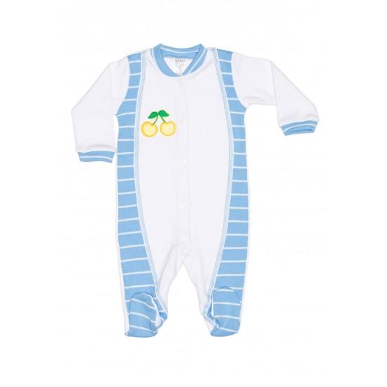 salopeta bebe bumbac azuga alb-dungi bleu