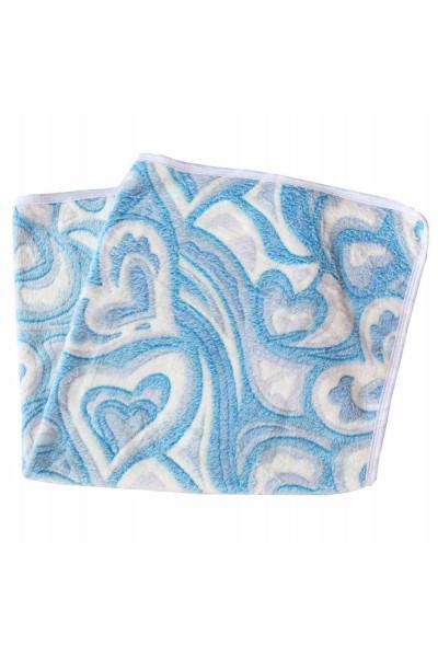 Paturica pufoasa imprimeu alb-bleu