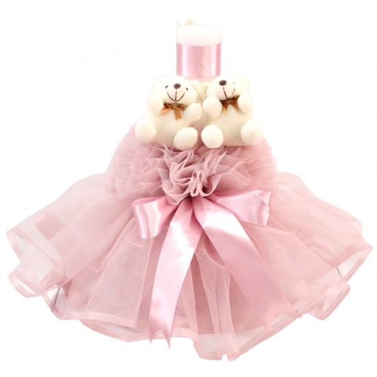 lumanare botez roz prafuit ursuleti