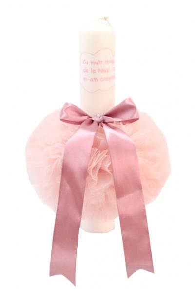 lumanare botez roz prafuit cu mult drag de la nasi