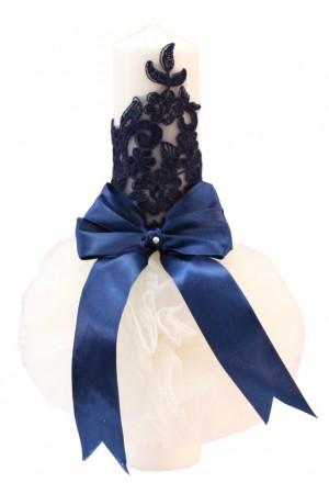 lumanare botez broderie bleumarin
