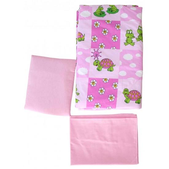 set lenjerie patut bebe roz broscute