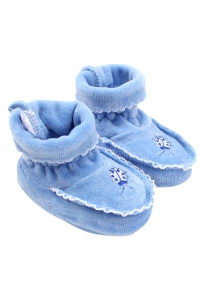 Botosei bebe catifea broderie albastru