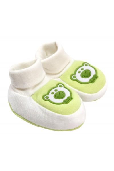 Botosei bebe catifea aplicatie ursulet verde