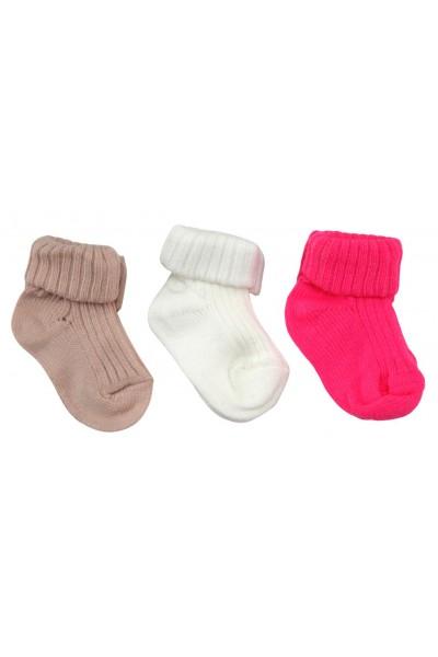 Set sosete bebe 3 perechi bej-alb-roz